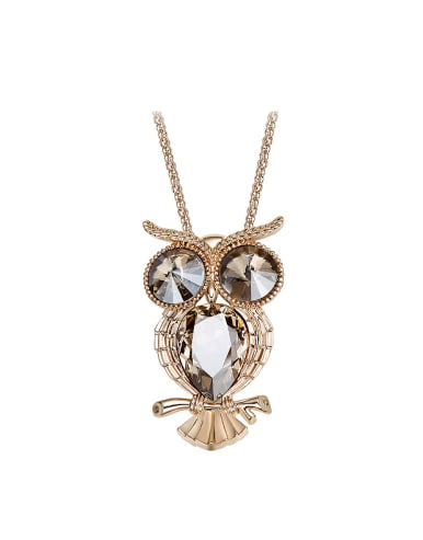 Fashion Swarovski Crystals Owl Sweater Chain