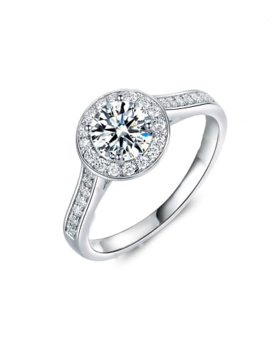 Platinum Plated Zircon Engagement Ring