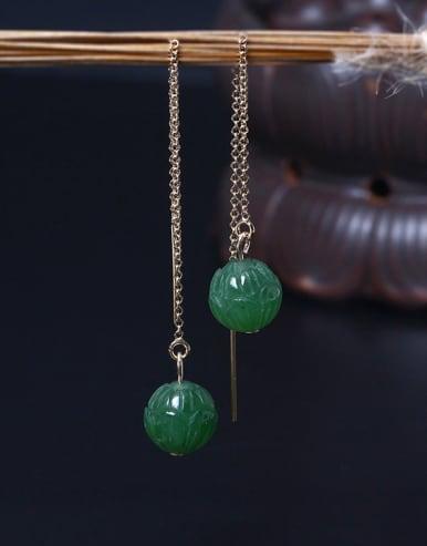 Natural Jade Lotus Line Earrings
