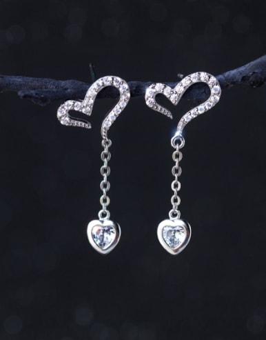 S925 silver sweet heart-shaped zircon drop earring