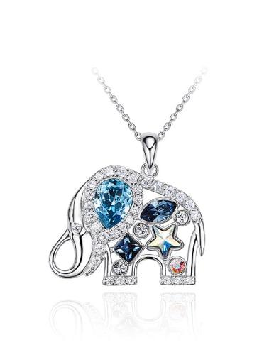 Fashion Shiny Swarovski Crystals 925 Silver Little Elephant Pendant