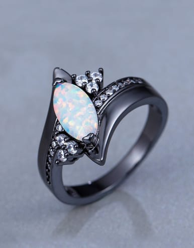2018 Black Opal Stone Statement Ring