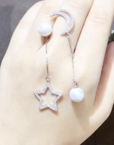 S925 Silver Shelll Pearl Star Moon Asymmetric drop earring