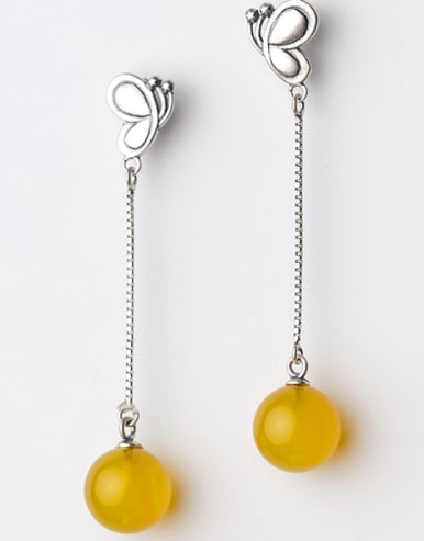 Ethnic Style Butterfly Shaped Yellow Stone Drop Earrings