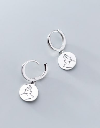 925 Sterling Silver With Platinum Plated Trendy Face Clip On Earrings