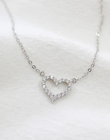 Simple Tiny Zircon-studded Heart Silver Necklace