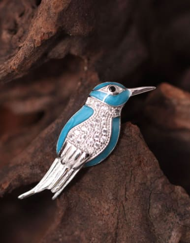 Lovely Kingfisher Enamel Brooch