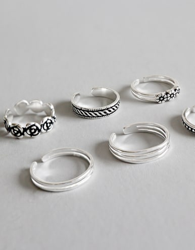 925 Sterling Silver With Antique Silver Plated Vintage Flower Rings