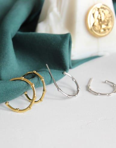 925 Sterling Silver With 18k Gold Plated Trendy Minimalist Hoop Earrings