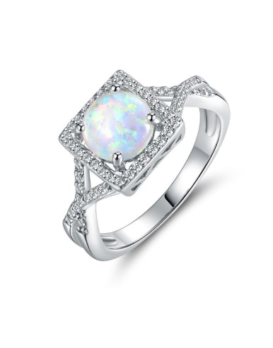 Square Opal Stone Engagement Ring