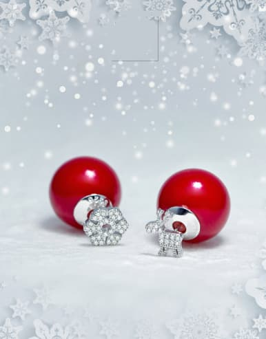 S925 Silver Snowflake Deer Artificial  Red Pearl Christmas stud Earring