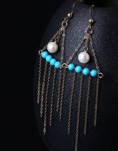 4K Gold Natural Pearl Tassel Drop Earrings