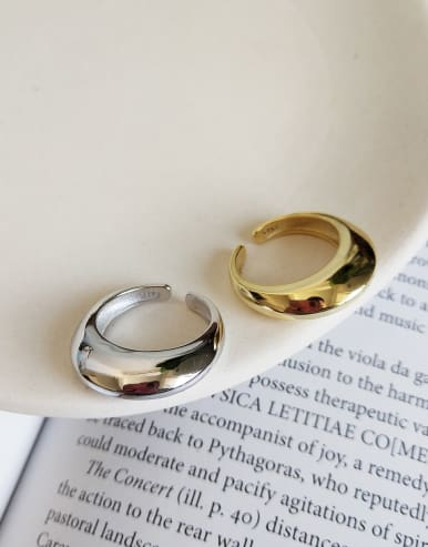 925 Sterling Silver With 18k Gold Plated Trendy Geometric Rings