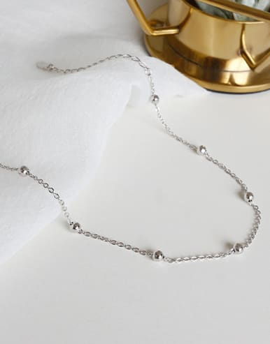 925 Sterling Silver With Platinum Plated Classic Ball Anklets