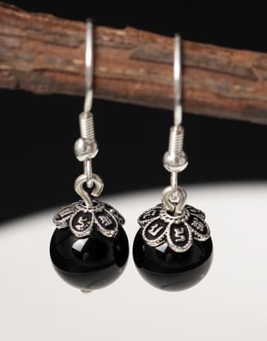 Natural Lapis Retro Style Hook Earrings
