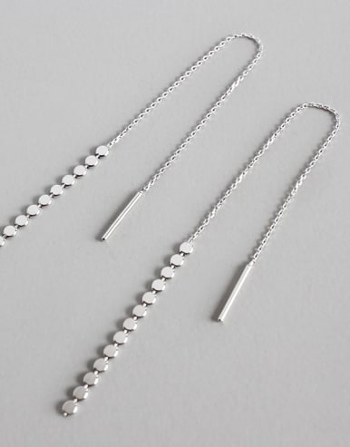 925 Sterling Silver With Silver Plated Trendy Chain Threader Earrings