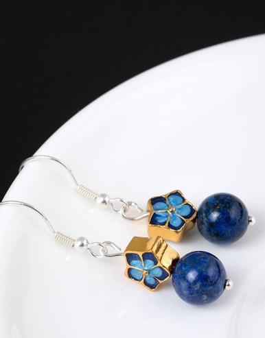Ethnic style Blue Stone Bead Enamel Flower 925 Silver Earrings
