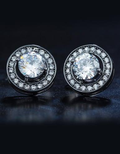 Black Zircon Cluster earring