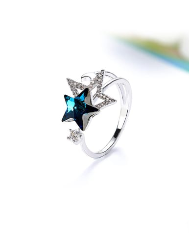 Five-pointed Star Shaped Crystal Ring