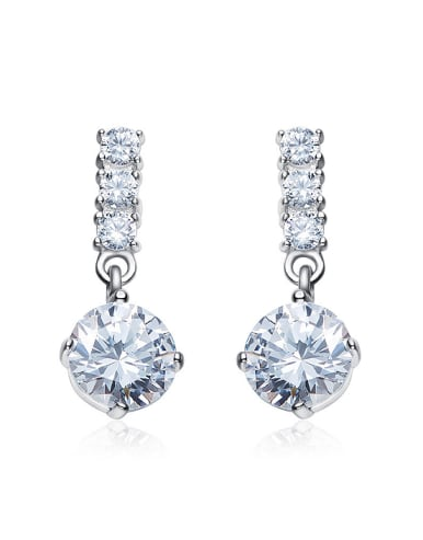 Fashion Cubic Zirconias-covered 925 Silver Stud Earrings