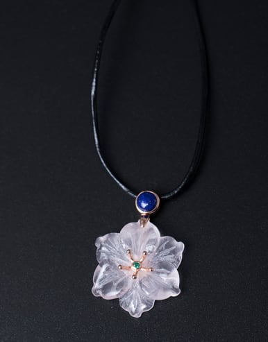 Flower Pendant Women Sweater Necklace