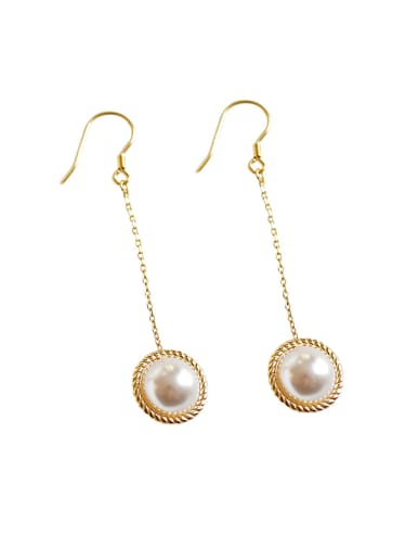 Fashion White Artificial Pearl Gold Plated Silver Drop Earring