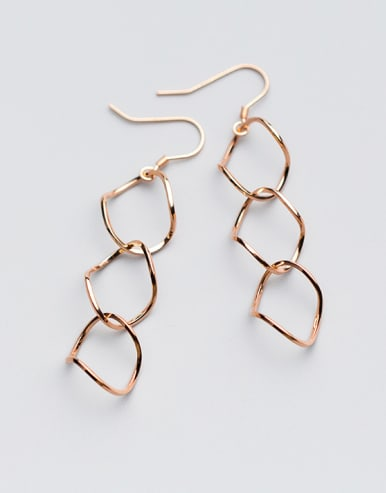 Personality Rose Gold Plated Geometric Shaped Drop Earrings