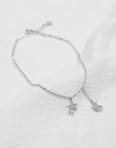 Simple Star Moon Tiny Zircon Silver Anklet