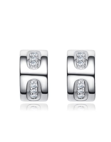 Tiny Cubic ZIrconias 925 Silver Stud Earrings