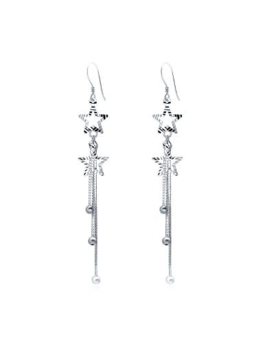 S925 silver sweet star beads tassel drop threader earring