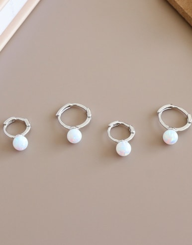 925 Sterling Silver With Opal Delicate Ball Clip On Earrings