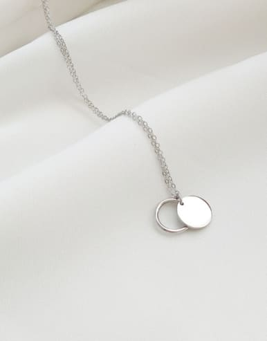 925 Sterling Silver With Platinum Plated Classic Round Necklaces