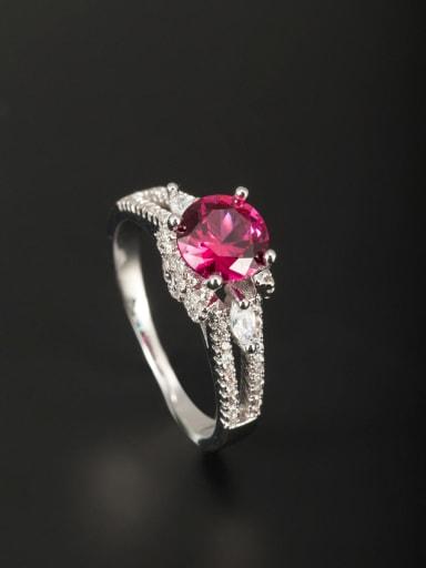 Model No A000365R-001 Platinum Plated Copper Zircon Fuchsia Ring 6#-9#