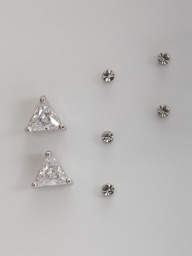 Platinum Plated Stylish Triangle Zircon Combined Studs stud Earring