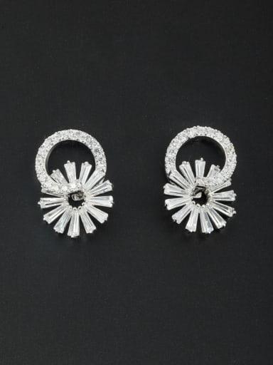 Flower Platinum Plated Zircon White Studs stud Earring