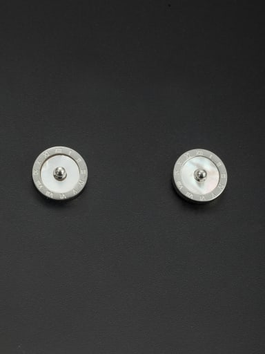 Mother's Initial White Studs stud Earring with Round