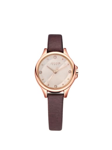 Fashion Wine Alloy Japanese Quartz Round Genuine Leather Women's Watch 24-27.5mm