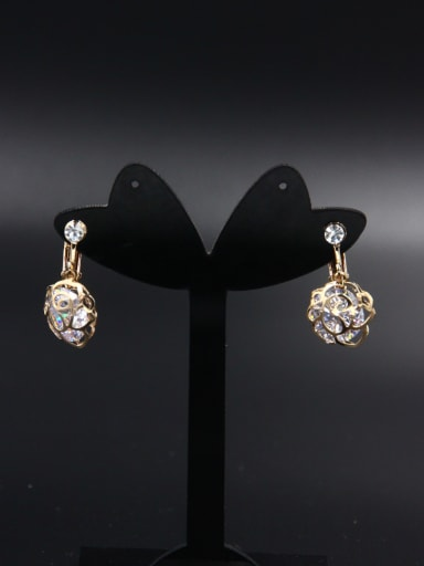 Model No NY2926MZ15A-003 Flower style with Gold Plated Zircon Drop drop Earring