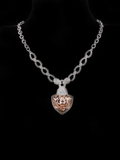 Platinum Plated Zinc Alloy Heart Swarovski Crystals Beautiful Necklac