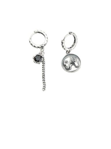 Vintage Sterling Silver With  Cubic Zirconia Trendy Asymmetry Elephant Drop Earrings