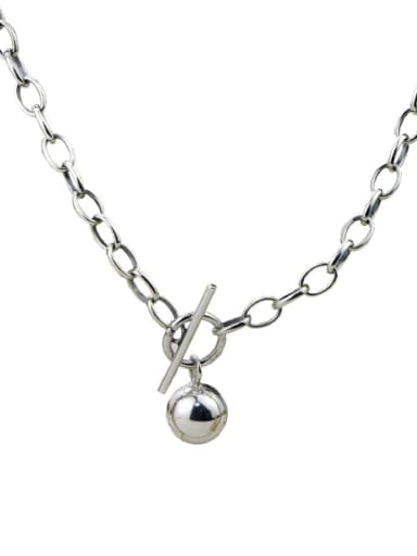 Vintage Sterling Silver With  Simplistic Round Beads  Hollow Chain Necklaces