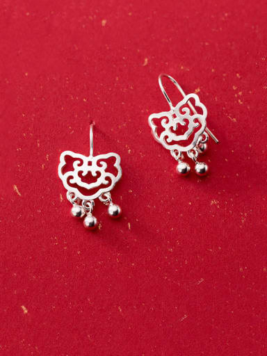 925 Sterling Silver With Platinum Plated Trendy Hollow  Locket Hook Earrings
