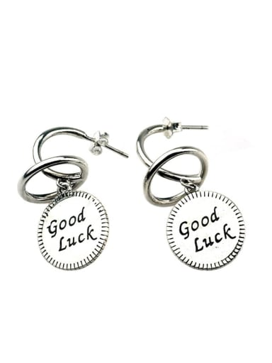 Vintage Sterling Silver With Antique Silver Plated Fashion Round Drop Earrings