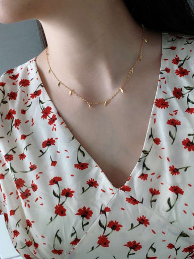 925 Sterling Silver With Gold Plated Simplistic Leaf Necklaces