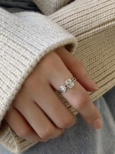 925 Sterling Silver With  Vintage  Geometric  Boy Free Size Rings