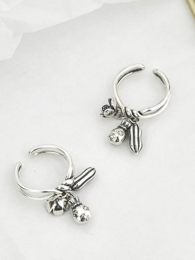 Vintage Sterling Silver With Platinum Plated Vintage Horse Peanut Free Size Rings