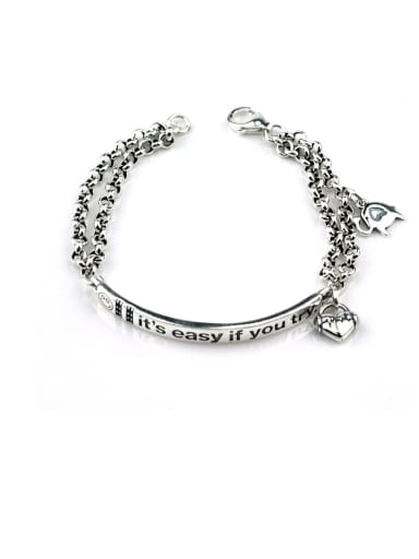 Vintage  Sterling Silver With Antique Silver Plated Fashion Simple Love elephant  Bracelets