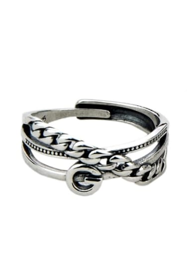 JZ114(3.2g) Vintage Sterling Silver With Antique Silver Plated  Retro irregular Free Size Rings