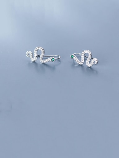 925 Sterling Silver With Platinum Plated Cute snake Stud Earrings