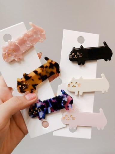 Alloy With Cellulose Acetate Cartoon Animal Barrettes & Clips